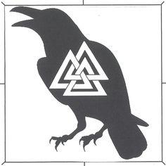 Odin symbol with raven