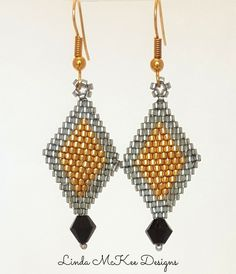 Silver and Gold Brick Earrings