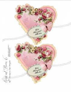 Digital collage sheet vintage, instant download, Hearts and Flowers 6, journaling, labels, vintage rose tags, scrapbooking, supplies