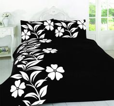 Roses Alyssa Black White Printed Duvet Quilt Cover Bedding Set With Pillow Cases