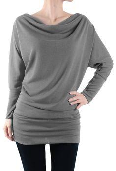 LeggingsQueen Long Sleeve Fashion Basic Tunic Top (Grey, X-Large)