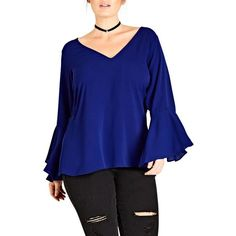Plus Size Women's City Chic Bell Sleeve Top (1.135 ARS) ❤ liked on Polyvore featuring tops, cobalt, plus size, bell sleeve tops, spaghetti-strap top, flared sleeve top, strappy top and plus size tops