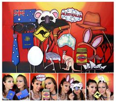 Australia phot booth props - perfect for the party down under, your Australian celebration or an Aussie outback party. $14.99, via Etsy.