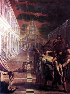 Tintoretto or Jacopo Robusti Tintoretto (Real name: Jacopo Comin) (Italian 1518–1594) St Mark's Body Brought to Venice, c. 1562-1566. Gallerie dell'Accademia, Venice.
