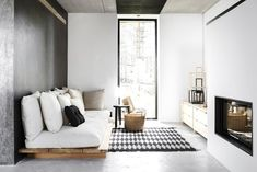 grey, white & wood - this would also be a good diy - guest room bed/couch