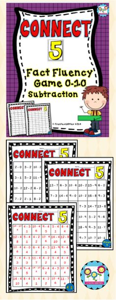 1 -1 digit subtraction game! Great for math centers, reviews, extra practice, early finishers and more! $ #connect5 #earlyfinishers #subtraction http://www.dromelabs.com