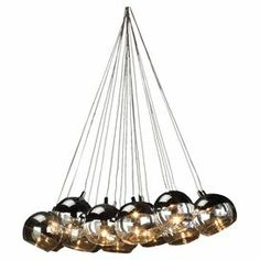 """Ten-light chandelier with round glass and metal shades.  Product: ChandelierConstruction Material: Glass and metalColor: Clear and silverFeatures: 40"""" CordAccommodates: (10) Bulbs - not includedDimensions: 5"""" H x 18"""" W x 18"""" D"""