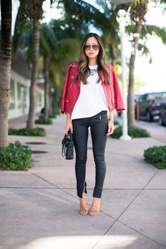 Cute for weekend shopping or brunch. Black leather pants, white top, brightly colored jacket.