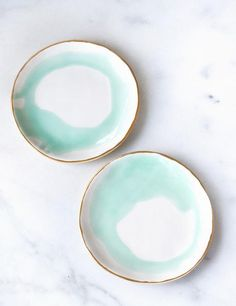 Dessert Plates in Watercolor Mint Swirl with Gold Rim (set of two) – Suite One Studio