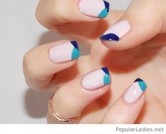 light-pink-nails-with-blue-tips