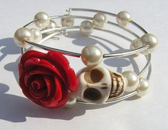 Day of the Dead Skull Wrap Around Bracelet Wedding by shabbyskull, $25.00