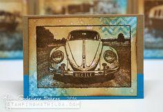 Card by Godelieve Tijskens using Darkroom Door VW Beetle Photo Stamp.