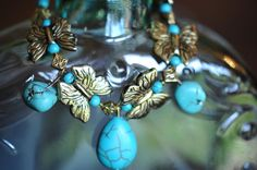 Turquoise and Antique Gold Butterfly Beaded Charm by LaceCharming