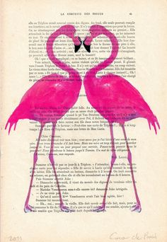 Drawing Illustration Giclee Prints Posters Mixed Media Art Acrylic Painting Holiday Decor Gifts: Flamingo heart. $10,00, via Etsy.
