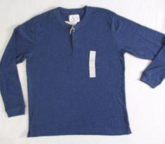 St John's Bay Men T Shirt XL Blue Solid Henley Thermal Cotton Polyester 1700L #StJohnsBay #Henley