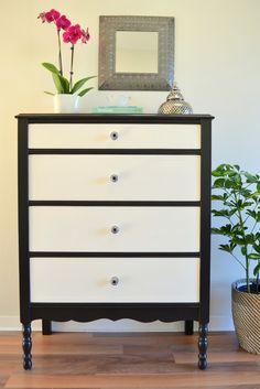 Black and white dresser black body white drawers