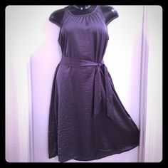 Metallic Gray Sleeveless Highlow Midi Dress W/Belt