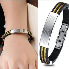 Europen and American Black Silicone Fashion Bracelet Silver Stainless Steel Unique Bangles Wristband Bracelets For Women Jewelry