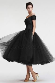 The black homecoming dress features off the shoulder neckline with scallops, lace bodice, basque waist line continued with gathered ball gown skirt, tea length, perfect vintage style!