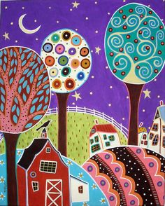 Starry Purple Sky by karlagerard, via Flickr - I love this artist's style. Good inspiration!