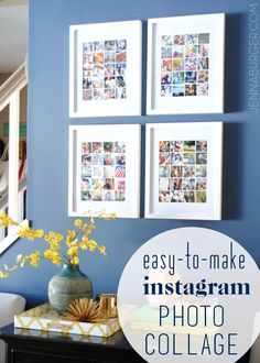 Easy-to-Make Photo Collage using Instagram or digital photos for less than $5.  Tutorial by Jenna Burger, www.jennaburger.com