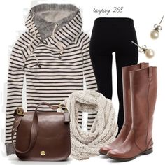 """""""striped hoodie"""" by taytay-268 on Polyvore"""