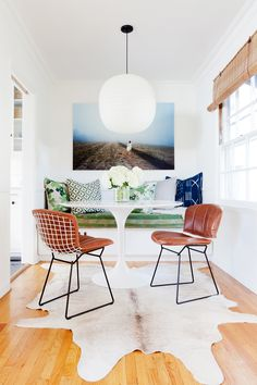 A bright and colorful breakfast nook
