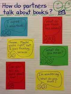 "Creating Structure to ""Turn and Talk"" Gives students ways to begin statements and guides their listening. Lots of great ideas here plus more anchor charts. Reading Lessons, Reading Skills, Reading Strategies, Reading Buddies, Reading Groups, Partner Talk, Partner Reading, Partner Questions, Kindergarten Reading"