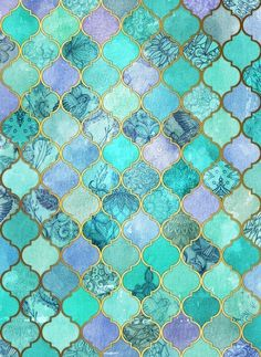 Turquoise/gold/lavender
