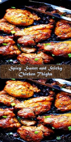Spicy, Sweet and Sticky Chicken Thighs Sticky Chicken Thighs, Chicken Wings, Chicken Thigh Recipes, Sweet And Spicy, Fajitas, Tandoori Chicken, Sweet Home, Meat, Ethnic Recipes
