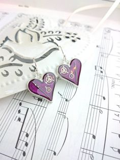 Purple Heart Earrings. Silver Plated Hearts with a by OneDottyDuck