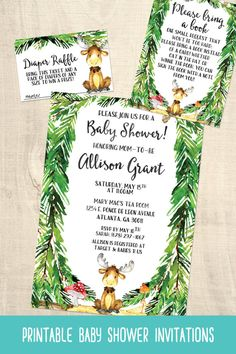 Moose baby shower invitations | printable | wilderness | forest | evergreen