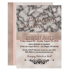 Bachelorette Weekend Itinerary Marble Rose Gold Card - marble gifts style stylish nature unique personalize