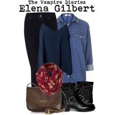 The vampire diaries- Elena Gilbert by darcy-watson on Polyvore featuring Topshop, NLY Trend, Dr. Denim, Valentino, The Bridge, Mulberry, women's clothing, women's fashion, women and female