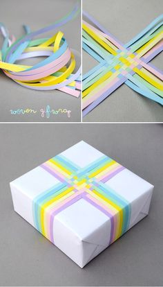 Look what you can do with Quilling Paper - - - Woven gift-wrap // pastel edition
