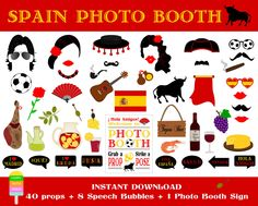 Spain Photo Booth Props–49 Pieces (40 props,8 speech bubbles,1 photo booth sign)-Spanish Party Props-Fiesta España Props-Instant Download by HappyFiestaDesign on Etsy https://www.etsy.com/listing/237661378/spain-photo-booth-props49-pieces-40
