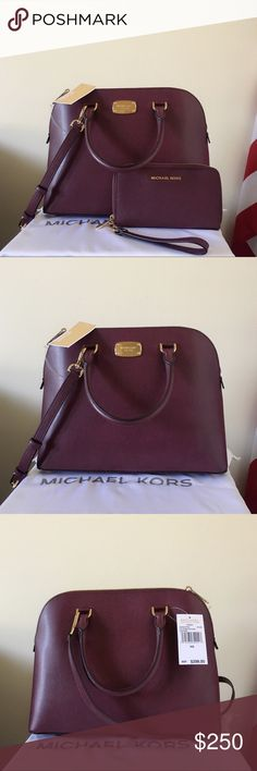 NWT Michael Kors Large Cindy Dome Satchel Set Beautiful beautiful set! Plum color with gold detailing. Great for the coming season. Authentic.  The Large Cindy Satchel has long strap. New with tags.  Wallet is new without tags.  Measurement: 12.5*9.5*5 inch  Dust bag is included. Michael Kors Bags Satchels