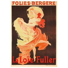 """Jules Chéret French Art Nouveau Lithograph """"Folies Bergere"""" 