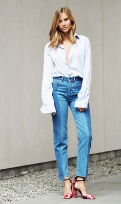 button down blouse + two-tone jeans + printed heels