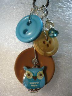 Blue Owl Button Necklace