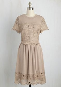 Esteemed Dreamer A-Line Dress - Tan, Solid, Crochet, Casual, Boho, A-line, Short Sleeves, Fall, Knit, Better, Mid-length, Lace, Lace
