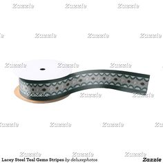 Lacey Steel Teal Gems Stripes Satin Ribbon
