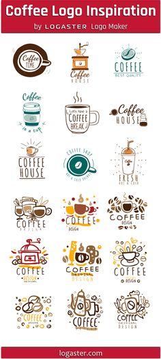 Logaster Logo Maker presents: Coffee Logo Design Ideas Logo Maker, Creative Logo, Modern Logo Design, Branding Design, Logo Inspiration, Gaming Logo, Monogram Logo, Kitchen Logo, Coffee Shop Logo