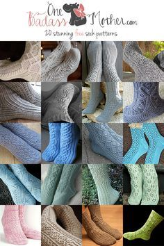 One Badass Mother » Fabulous Finds for September: 20 Free Sock Knitting Patterns featuring cablework, twisted stitches or lace elements. Don't know how to knit socks? I got you covered: I included a link to a tutorial on how to do it!