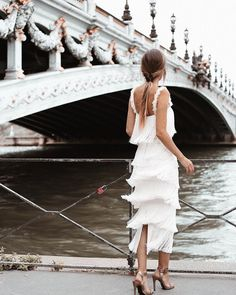 White fringe midi dress and high heels