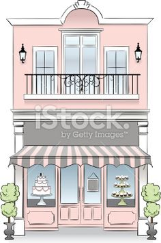 A bakery store front. Idea: If u have a second floor viable for business, then install French windows on it and convert to… Patisserie Design, Bakery Design, Cafe Design, Store Design, Store Front Design, Boutique Patisserie, Decoration Patisserie, Vintage Coffee Shops, Vintage Bakery