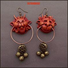 Knocker Earrings Labyrinth Red version | Polymer CLAY | BUZHANDMADE
