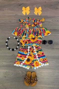 Serape Sunflower Cheetah Tie Romper– Sparkle In Pink Little Girl Outfits, Cute Outfits For Kids, Toddler Outfits, Cute Kids, Little Girls, New Baby Girls, Cute Baby Girl, Cute Babies, Baby Girl Fashion