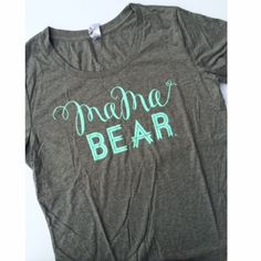 """Mama Bear"" Grey Scoop Neck w/ Mint Ink – LOVED BY HANNAH AND ELI"