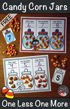Try this free kindergarten math resource with a candy corn theme that can be used to teach, practice, or review the concept of one less and one more than a given quantity or number. This versatile activity can be used in guided math, intervention, or resource groups or as an independent math center. #OneMoreOneLess #MathIntervention